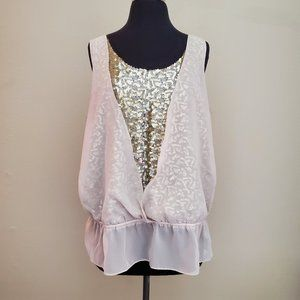 Apt 9 Champagne Gold Sequin Sleeveless Top Size XL